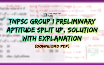 TNPSC GROUP 1 2021 PRELIMINARY APTITUDE SOLUTION PDF DOWNLOAD