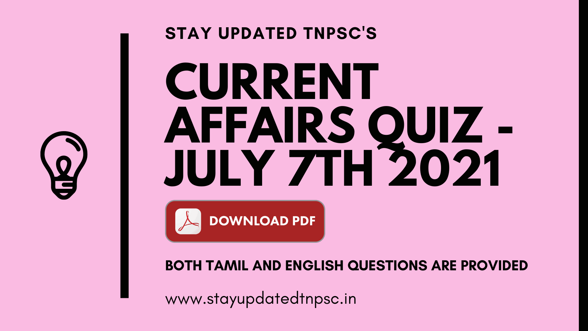 TNPSC DAILY CURRENT AFFAIRS: 07 JUNE 2021 TNPSC தினசரி நடப்பு நிகழ்வுகள்: 07 ஜூன் 2021 BOTH TAMIL AND ENGLISH QUESTIONS ARE PROVIDED DOWNLOAD PDF AT THE END OF THE QUESTIONS